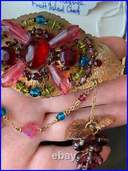 Miriam Haskell brooch Large Vintage Antique Early 1940 Fruit Salad Leaf Rare Pin