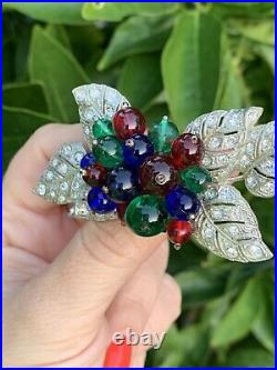 Miriam Haskell brooch Vintage Antique Early 1940s Multi Color Glass Fruit Rare