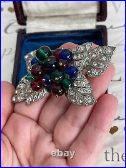 Miriam Haskell brooch Vintage Antique Early 1940s WW2 Era Multi Glass Fruit Rare