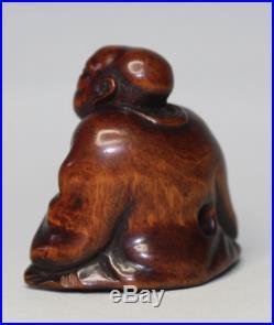 Netsuke Rakugo wood early 19th C ex Isobel Sharpe rare
