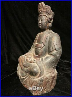 Nice rare authentic early Chinese wooden Ming Dynasty Quan Yin statue 16th c