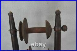 Old period spinning wheel spool holder tripod base hand made early 19th c rare