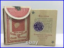 Open Vintage Antique Early Century Tax Stamp Bee Playing Cards Red Rare