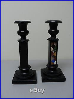 PAIR RARE LATE 18th-EARLY 19th C. PIETRA DURA HARD STONE / MARBLE CANDLE HOLDERS