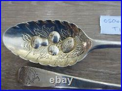 Pair Rare Early Georgian Large Antique Solid Sterling Silver Berry Spoon C1750