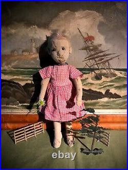 Perfect Christmas Present Antique Very Early Rare Steiff Felt Doll 1900-1910