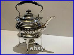 RARE 1863-Early 19th Century Davis & Sons Silver Plated Teapot, Stand & Warmer