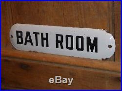 RARE 1940s OLD ORIGINAL EARLY BATH ROOM PORCELAIN SIGN VINTAGE ANTIQUE HOTEL GAS