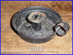 RARE 19th C OLD EARLY TIN CANDLE HOLDER BED CHAMBER CHAMBERSTICK BLACK PAINT