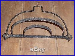 RARE 19th C OLD WROUGHT IRON EARLY HANGING HEARTH POT HOLDER SHELF RACK FOLDING