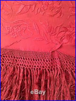 RARE ANTIQUE EARLY 1900's CHINESE CANTON EMBROIDERED SILK PIANO SHAWL EMBROIDERY