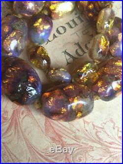 RARE ANTIQUE/ EARLY 20thC NECKLACE OF LARGE HEAVY OPALESCENT FOIL GLASS BEADS