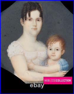 RARE ANTIQUE Early 1800s FRENCH MINIATURE HAND PAINTED MOTHER AND CHILD PORTRAIT