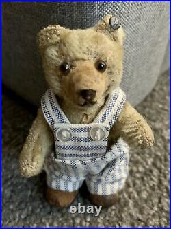 RARE ANTIQUE Early 1900s Steiff Miniature 3.5 Teddy Baby Bear FF BUtton Stands