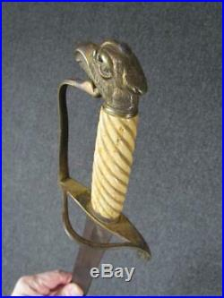 RARE ANTIQUE early 1800s US MILITARY PRESENTATION SWORD, FIGURAL EAGLE HANDLE