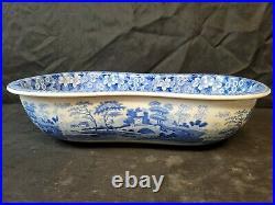 RARE Antique Early 19th C Spode Blue TOWER Pattern Bidet Bath Tub Sink Bowl Wash
