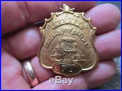RARE Antique Early GOLD FILLED PUMPER BUFFALO NEW YORK Fire EXEMPT Badge NO. 71