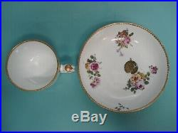 RARE Antique Early Sevres hand painted flower porcelain gilt french tea cup duo