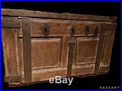 RARE Antique Genuine Early Oak IRON BOUND Box Small CHEST Antique 16th Century