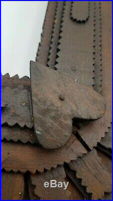 RARE Antique Primitive Early American Folk Tramp Art Heart Wood Picture Frame