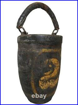 RARE EARLY 19TH C AMERICAN ANTIQUE HND DEC LEATHER FIRE BUCKET, WithGOLD GILT # 2