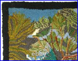 RARE EARLY 20TH C AMERICAN FOLK ART ANTIQUE WOOL HOOKED RUG WithCVRD BRIDGE/CHURCH