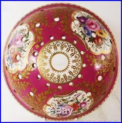 RARE EARLY ANTIQUE ENGLISH PORCELAIN POT POURRI LID FLOWERS MAROON 29.5cm 11 /2