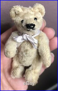 RARE EARLY ANTIQUE STEIFF MOHAIR WHITE MINIATURE BEAR 3.5 Bit Tattered So CUTE
