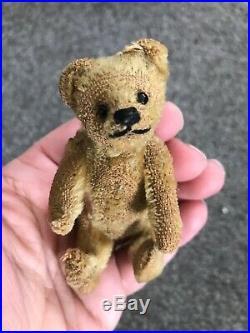 RARE EARLY C1900s Antique Miniature Steiff Bear Medium BROWN Mohair 3.5 NO ID