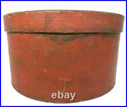 RARE EARLY-MID 19TH C AMERICAN PRIMITIVE 10 PANTRY BOX/LID, in ORIG DRY RED PNT