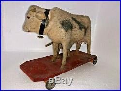 RARE EARLY PLATFORM Cow w Nursing Calf Metal Wheels Wonderful Antique PULL TOY