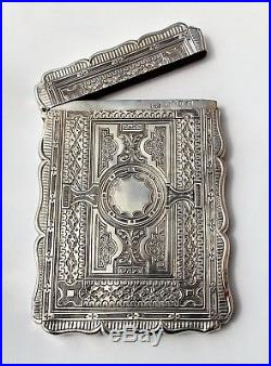 RARE EARLY VICTORIAN Edward Smith SOLID SILVER HIGHLY DECORATIVE CARD CASE 1856