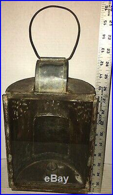 RARE Early 19th C. Punched Tin Barn Candle Lantern PAUL REVERE Glass Pane
