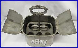 RARE Early Antique PEWTER Double Handled EGG CARRIER HOLDER Ornate BIRD