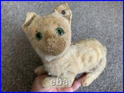 RARE Early Antique White Mohair Steiff Crouching CAT FF Long f Button NR