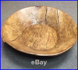 RARE! Early Primitive Huge 29 Wood Burled Dough Bowl Trencher 1-Pc Handcarved