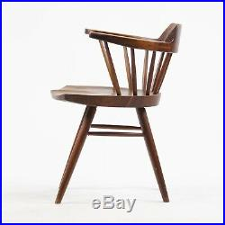 RARE Early Vintage 1950's George Nakashima Studio Pair Captains Chairs Walnut