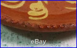 RARE SIZE & PATTERN Early 1800s Pennsylvania Redware Slipware Plate 6 3/4 NM