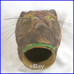 RARE Very Large Antique Early 1900s Gerrman Halloween Cat Head Candy Container
