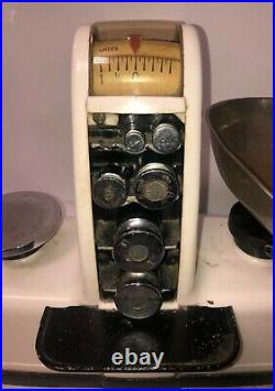 RARE WHITE DETECTO-GRAM EARLY CANDY SCALE with WEIGHTS & 1963 MICHIGAN SEAL
