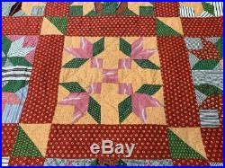 RARE c 1860-80s Goose Track QUILT Antique Early Browns