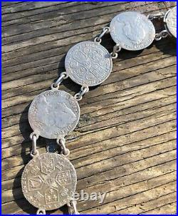 Rare 14 Coin Silver Necklace Construction Of Early British Coins Eliz I George I