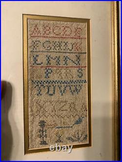 Rare 18th/ Early 19th Miniature Sz School Girl Sampler w Bird, Flowers & Alphabet