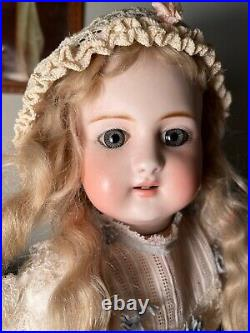 Rare 19 German Bisque Child, 908, By Simon Halbig, Early Body, Antique Costume