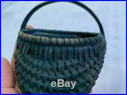 Rare Antique 1800 Early American Small Basket Original Soldier Blue Paint