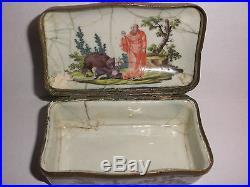 Rare Antique 18thc early Meissen enamel porcelain snuff box circa 1750`s