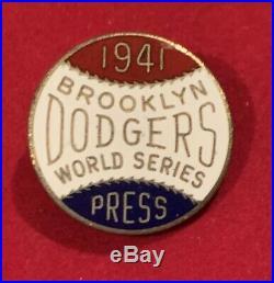 Rare Antique 1941 Brooklyn Dodgers World Series Baseball Press Pin Early Vintage