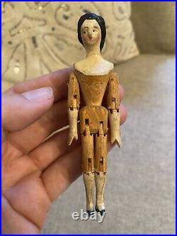 Rare Antique 4 Grodnertal Miniature Jointed Peg Wooden Doll Early 1800s