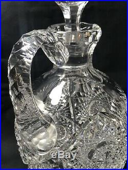 Rare Antique Abp Early J. Hoare Super Quality Cut Glass Whiskey Decanter Jug