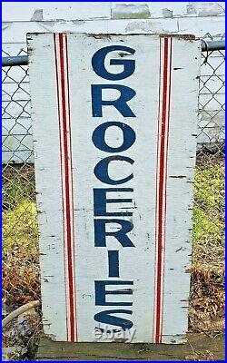 Rare Antique Early 1900's GROCERIES General Store Wooden Trade Sign Authentic